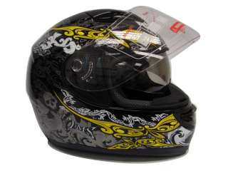 SKULL BLACK DUAL VISOR FULL FACE MOTORCYCLE HELMET  S