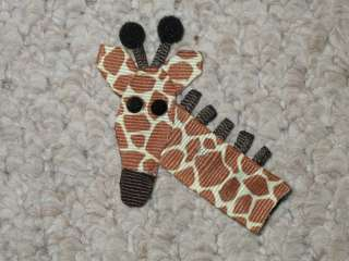NEW GIRAFFE Girls Ribbon Hairbow Clip Bow Boutique Zoo Jungle Safari