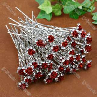Crystal Red Rose Flower Hair Pins Wedding Party Bridal Hairpin