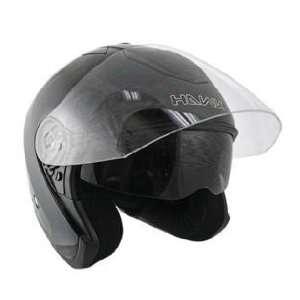 Hawk Black Dual Visor Open Face Motorcycle Helmet Sz XL