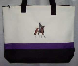 Dressage Horse Purple Tote Bag equestrian jumping NEW