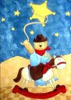 FABRIC PANEL quilting QUILT TOP BABY NURSERY COWBOY teddy BEAR rocking