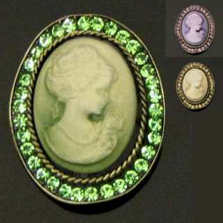 1p Rhinestone crystal Cameo Pin Brooch Necklace Pendant