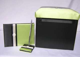 Black Green Wedding Card Box Guest Book Pen Your Colors
