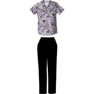 Butterfly stroke Print Mock wrap Top and Black Pull On Scrub Pant