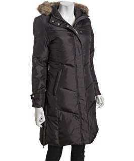 Hawke & Co. steel quilted down faux fur trim hooded jacket