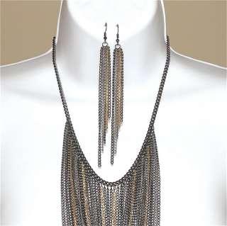Tone Silver Gold Gun Metal Multi Strand Chain Bib Necklace Set