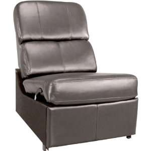 Black Leather Armless Reclining Home Theater Chair CA0856