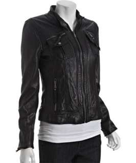 MICHAEL Michael Kors black leather zip front pocket jacket