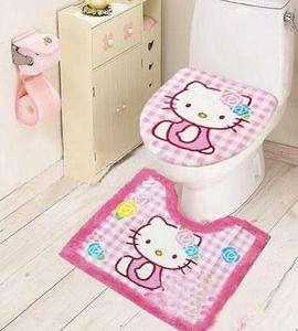 Cartoon Hello Kitty Bathroom Toilet lid Seat Commode Cover Mat Rug