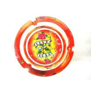 Glow in dark ashtray,Live & Love ,Rose Glass Ash Tray