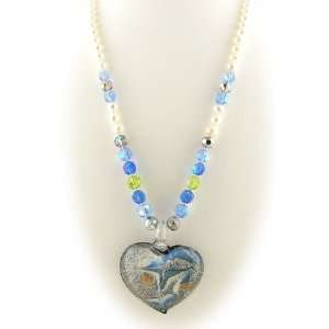 Murano Style Glass Heart Pendant Freshwater Pearl Necklace Jewelry
