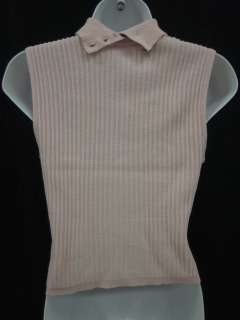 SONIA RYKIEL Pink Wool Ribbed Sleeveless Sweater SZ 44
