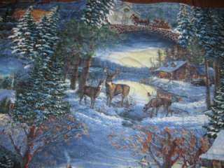 Handmade table Runner Christmas Winter Snow Scene deer wildlife