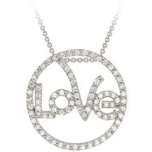 Stonez Sterling Silver Cubic Zirconia Circle Love Necklace Jewelry