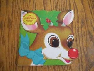 Vintage Rudolph Red Nosed Reindeer Golden Shape Book
