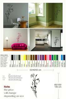 PRETTY FLOWER AND BUTTERFLY WALL ART STICKER DECAL huge removable